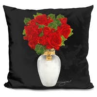 Lilipi Flowers In Red Decorative Accent Throw Pillow
