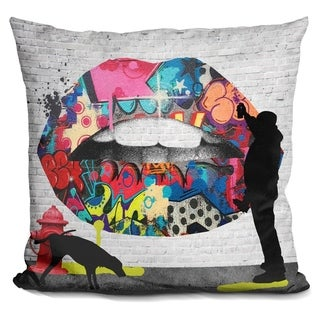 Lilipi Lips Street Art Decorative Accent Throw Pillow