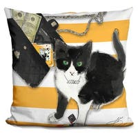 Lilipi Black And White Cat Decorative Accent Throw Pillow