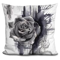 Lilipi Ink Wash Rose Decorative Accent Throw Pillow