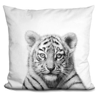 Lilipi Baby Tiger Bw Decorative Accent Throw Pillow