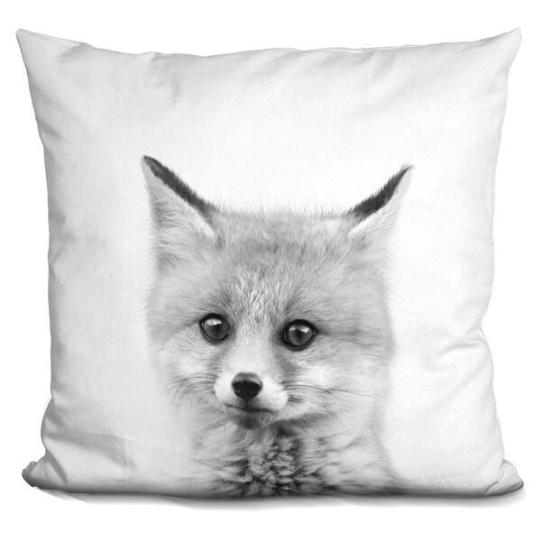 Lilipi Baby Fox Bw Decorative Accent Throw Pillow