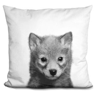 Lilipi Baby Wolf Bw Decorative Accent Throw Pillow