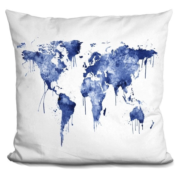 Shop Lilipi World Map Blue Decorative Accent Throw Pillow On Sale