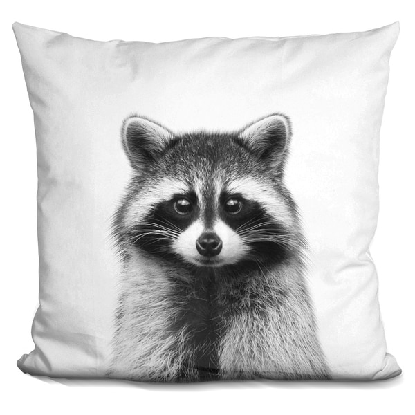 Lilipi Raccoon Bw Decorative Accent Throw Pillow