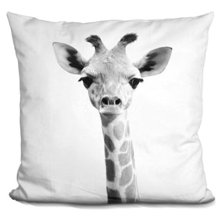 Lilipi Baby Giraffe Bw Decorative Accent Throw Pillow