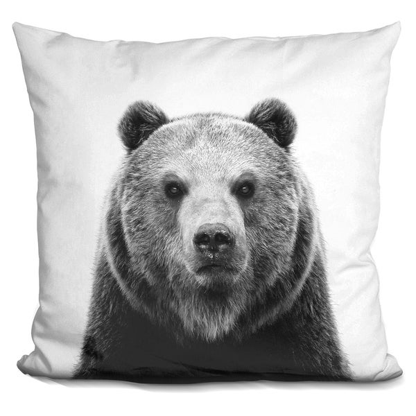 Lilipi Bear Bw Decorative Accent Throw Pillow