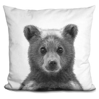 Lilipi Baby Bear Bw Decorative Accent Throw Pillow