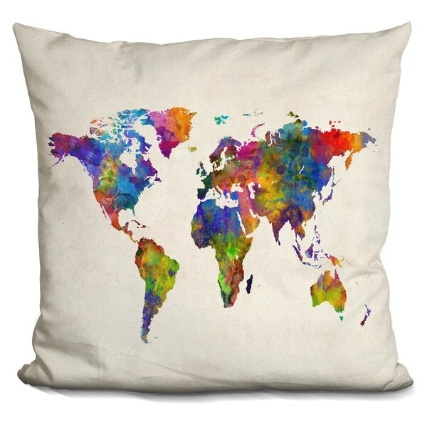Shop Lilipi World Map Watercolour Decorative Accent Throw Pillow