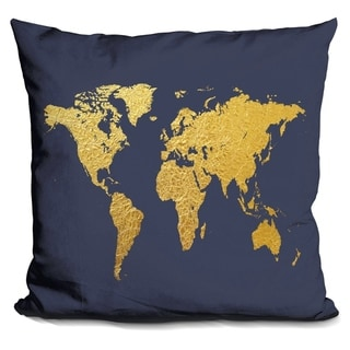 Lilipi World Map Gold Foil Navy Decorative Accent Throw Pillow