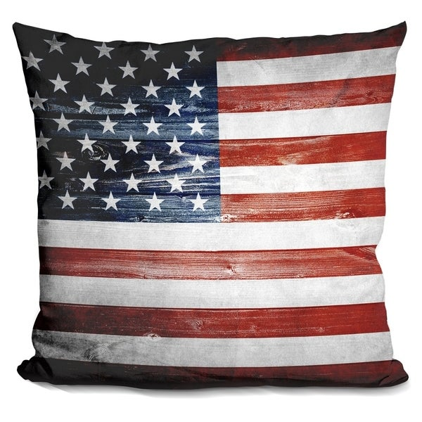 Lilipi American Wooden Flag Decorative Accent Throw Pillow