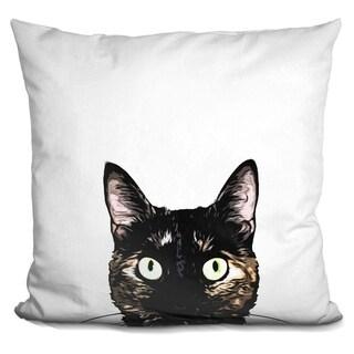 Lilipi Peeking Cat Decorative Accent Throw Pillow