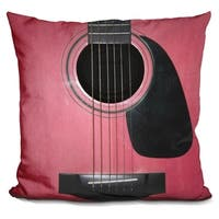 Lilipi Guitar Pink Decorative Accent Throw Pillow