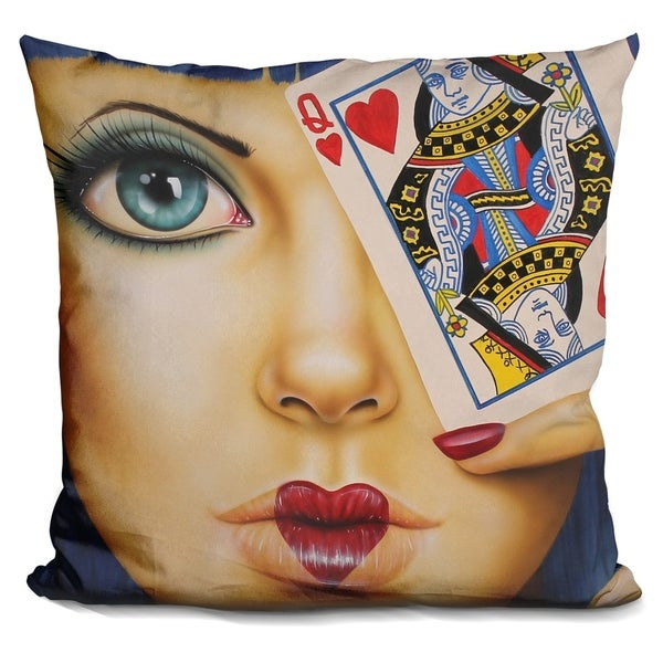 Lilipi Queen Of Hearts Decorative Accent Throw Pillow