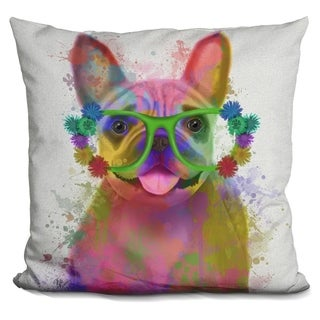 Lilipi Rainbow Splash French Bulldog, Portra Decorative Accent Throw Pillow