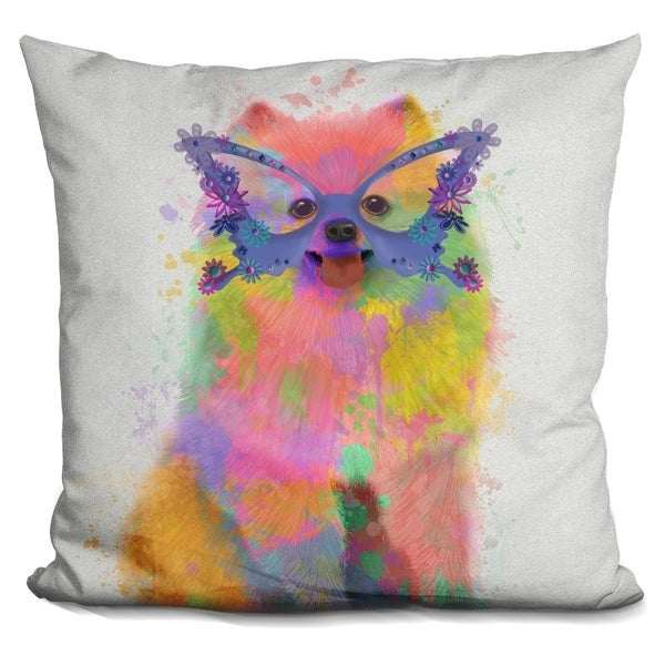 Lilipi Rainbow Splash Pomeranian Decorative Accent Throw Pillow