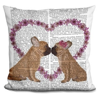 Lilipi French Kiss And Flower Heart Decorative Accent Throw Pillow
