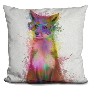 Lilipi Rainbow Splash Fox 1 Decorative Accent Throw Pillow