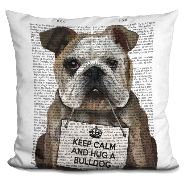 Lilipi Hug A Bulldog Decorative Accent Throw Pillow