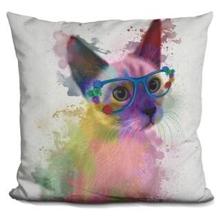 Lilipi Rainbow Splash Cat 2 Decorative Accent Throw Pillow