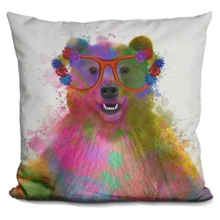 Lilipi Rainbow Splash Bear Decorative Accent Throw Pillow