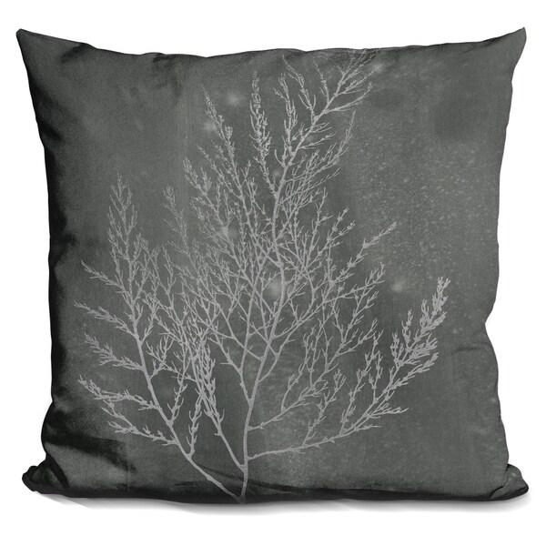 Lilipi Silver Foil Algae Ii On Black Wash Decorative Accent Throw Impressive How To Clean Decorative Pillows