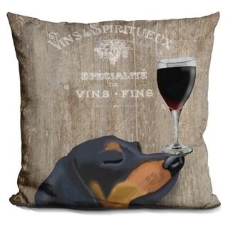 Lilipi Dog Au Vin Dachshund Decorative Accent Throw Pillow