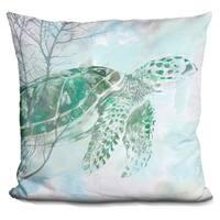 Lilipi Watercolor Sea Turtle I Decorative Accent Throw Pillow