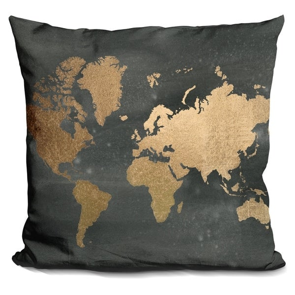 Shop Lilipi Gold Foil World Map On Black Decorative Accent Throw