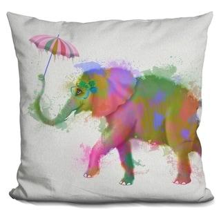 Lilipi Rainbow Splash Elephant Decorative Accent Throw Pillow