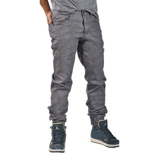 Men's Chino Zip Fly Cuff Button Denim Jogger CharcoalDenim