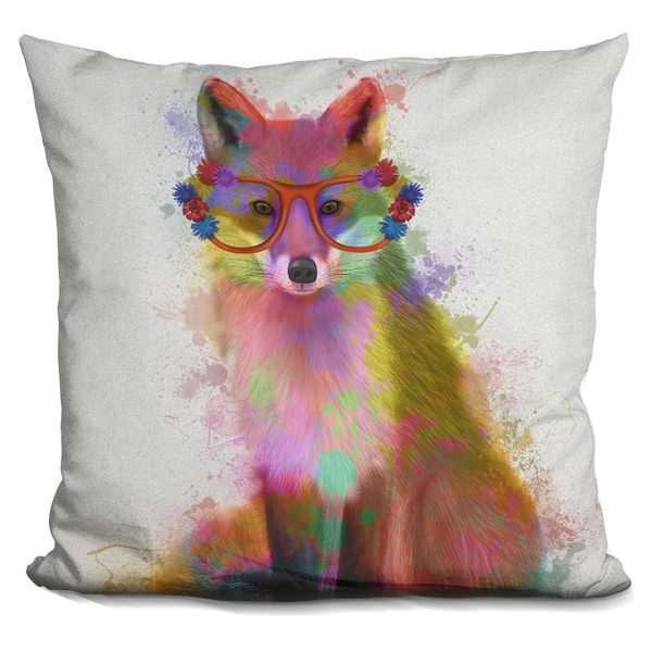 Lilipi Rainbow Splash Fox 2 Decorative Accent Throw Pillow