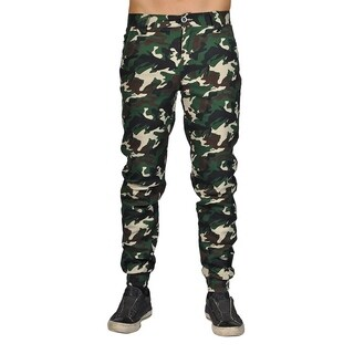 Men's Chino Zip Fly Button Jogger Pants Woodland