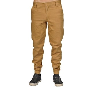 Men's Chino Zip Fly Button Jogger Pants Musterd