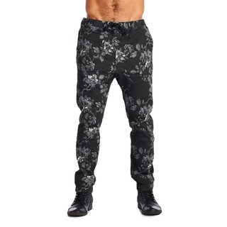 Dirty Robbers Men's Fashion 4 Pocket Ribbed Cuff Ankle Joggers Floral