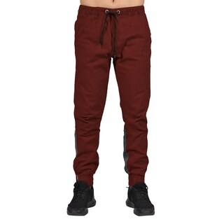 Men's Elastic Waistband Drawstring Joggers Zip Up Bottom Closure Maroon