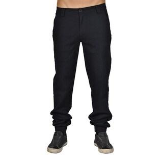 Men's Chino Zip Fly Cuff Bottom Jogger Pants Black