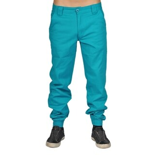 Men's Chino Zip Fly Button Jogger Pants Teal