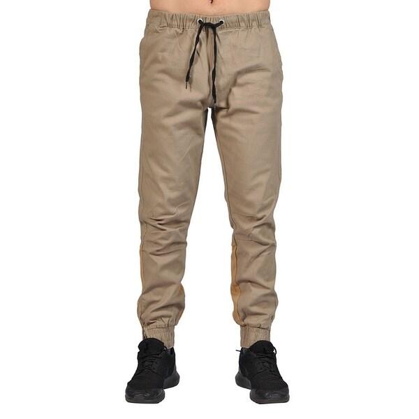 Men's Elastic Waistband Drawstring Joggers Zip Up Bottom Closure Khaki