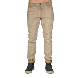 Men's Chino Zip Fly Cuff Bottom Jogger Pants Camel