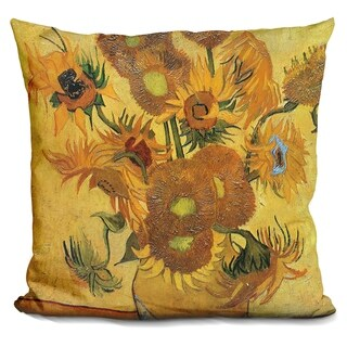 Lilipi Vase With Fifteen Sunflowers Decorative Accent Throw Pillow