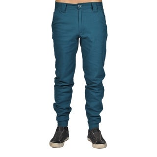Men's Chino Zip Fly Button Jogger Pants Emerald