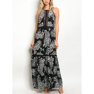 JED Women's Sleeveless Halter Floral Maxi Dress