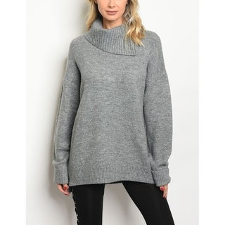 JED Women's Loose fitting Chunky Knit Cowl Neck Sweater Top