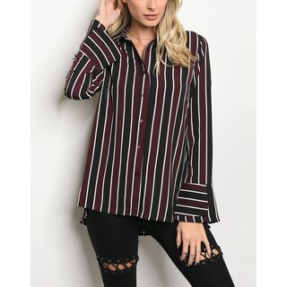 JED Women's Striped Long Sleeve Button Down Shirt