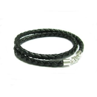 "Queenberry Sterling Silver Black Braided leather cord 3mm choker necklace 24"" for European Bead Charms"