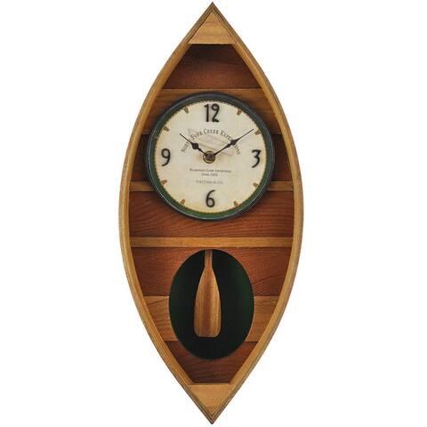 "FirsTime® Wood Canoe Pendulum Clock - 18""H x 7.75""W"