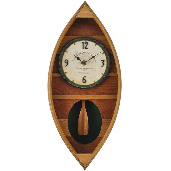 "FirsTime® Wood Canoe Pendulum Clock - 18""H x 7.75""W"