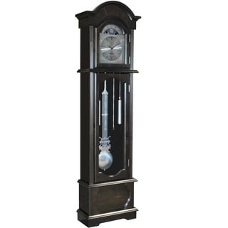 FirsTime Espresso Wood Grandfather Clock with Brushed Nickel Pendulum