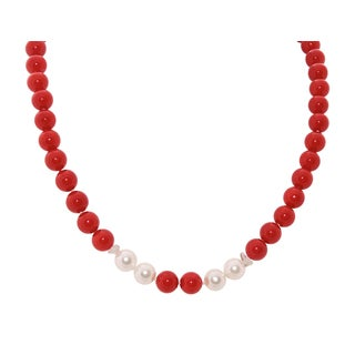 Red Coral Crystal and Pearl Necklace - 17""